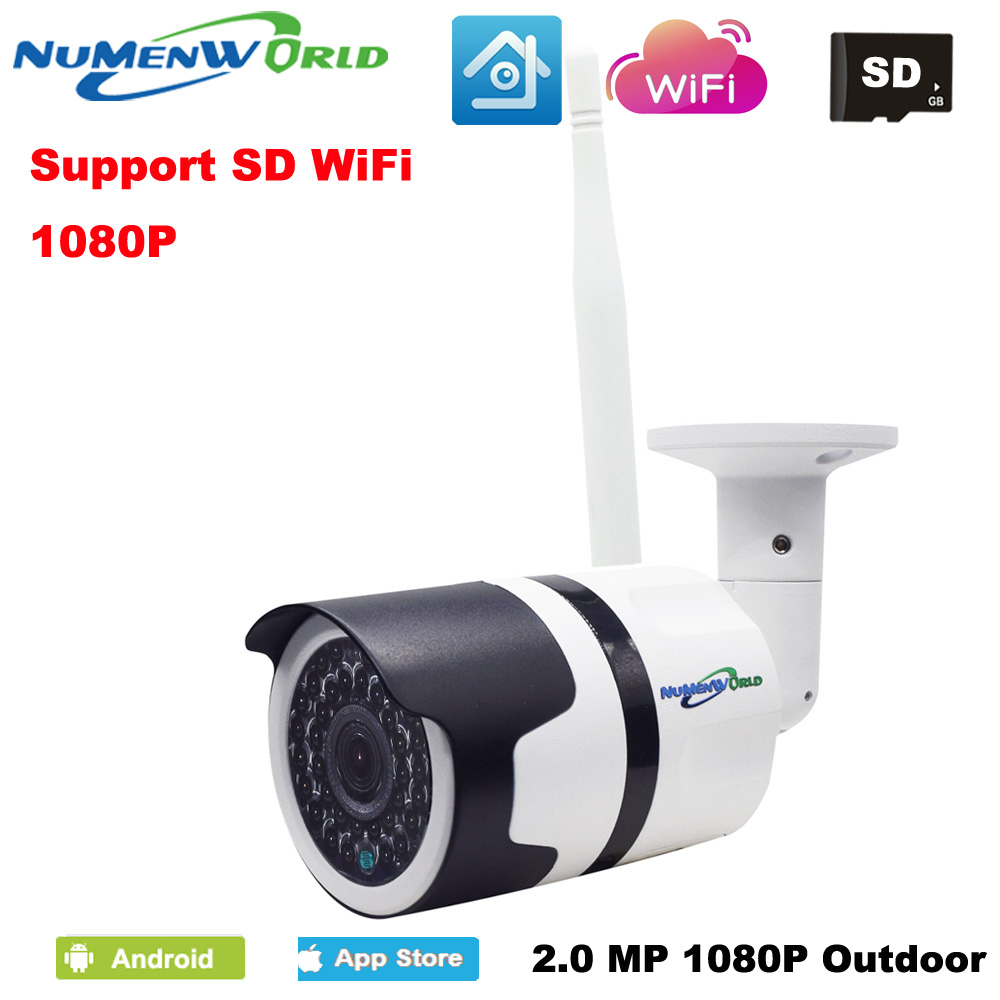 Waterproof Wireless IP cam 1080P HD P2P 802.11b/g/n wifi network Wired IP Camera IR Outdoor CCTV Camera IP with External SD slot фотоловушка bushnell trophy cam hd wireless 119598