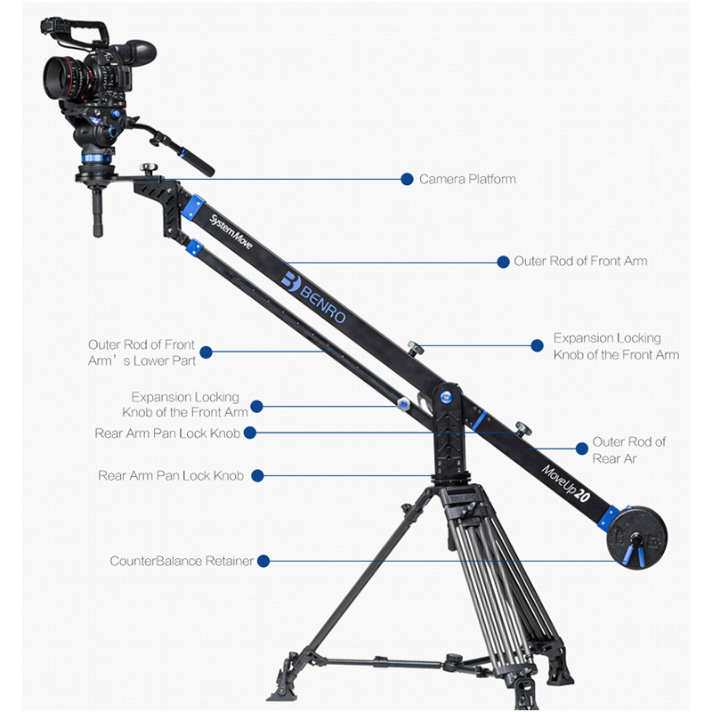 Benro MoveUp20 Travel Video Jib crane Professional Auminium Portable Pro DSLR Video Camera Arm Max Load To 20kg A20J27 цена и фото