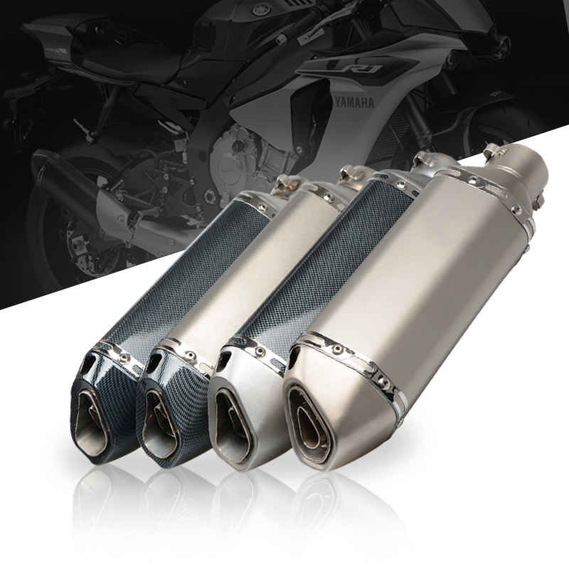 Universal Motorcycle Exhaust Akrapovic Escape Moto Muffler Pipe With Removable DB Killer GY6 CBR125 CB400 CB600 YZF R1 R6 inlet 51mm motorcycle universal exhaust muffler pipe with db killer for akrapovic large displacement steel carbon aluminum
