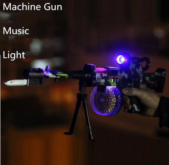 Juguetes clásicos! Ametralladora simulación niños Juguete de la música eléctrica juguetes de sonido de plástico, pistolas de juguete militar, envío gratis