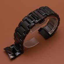 Ceramic Watch Band Strap solid Link Bracelet fit gear s3 men wristwatchband 22mm polished black watchbands new curved ends 2017