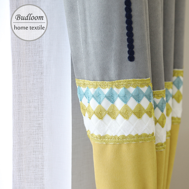 North Europe Style Splice Embroidered Curtains For Bedroom Imitation