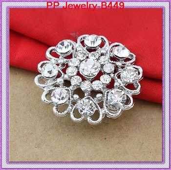 DHL Free Shipping Wholesale Cheap Heart Flower Crystal Pin Brooch Fashion Wedding Jewelry Accessories