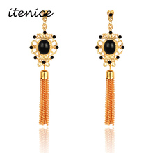 Itenice 2017 New Fashion Jewelry Rhinestone Trendy Tassels Drop Earrings Retro Ethnic Royal Pearl Earring For Women