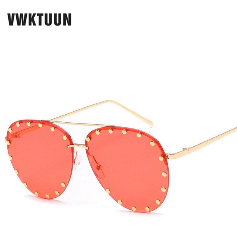 2274d0b41a VWKTUUN piloto gafas de sol de las mujeres hombres Oval lente de gran  tamaño gafas remache gafas de sol hombre conduciendo adultos sol UV400  protección, ...