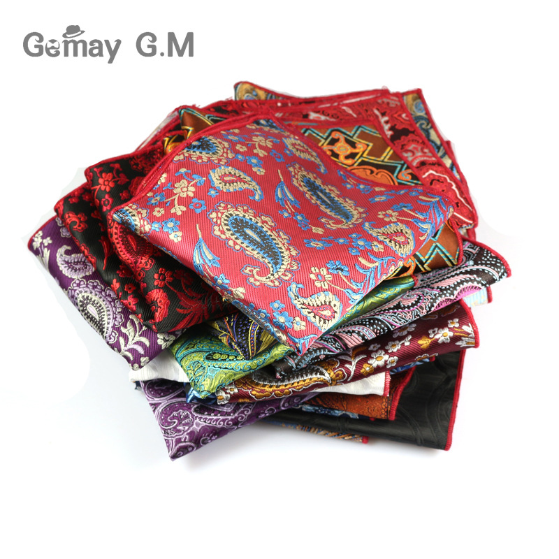 Cashew-Blumenkastentuch Mens Pocket Square Formeller Business-Anzug Hochzeitstaschentücher Men Pocket Hanky ​​Polyester Taschentuch