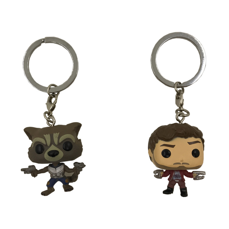 2Pcs Funko Pop Keychain Toys Guardians Of the Galaxy Dancing Groot Figma Anime Vinyl Potted Bobble Head Tree Man Juguetes Toys  10cm funko pop guardians of the galaxy groot pvc action anime figure doll shake bobble head groot tree man kids toys