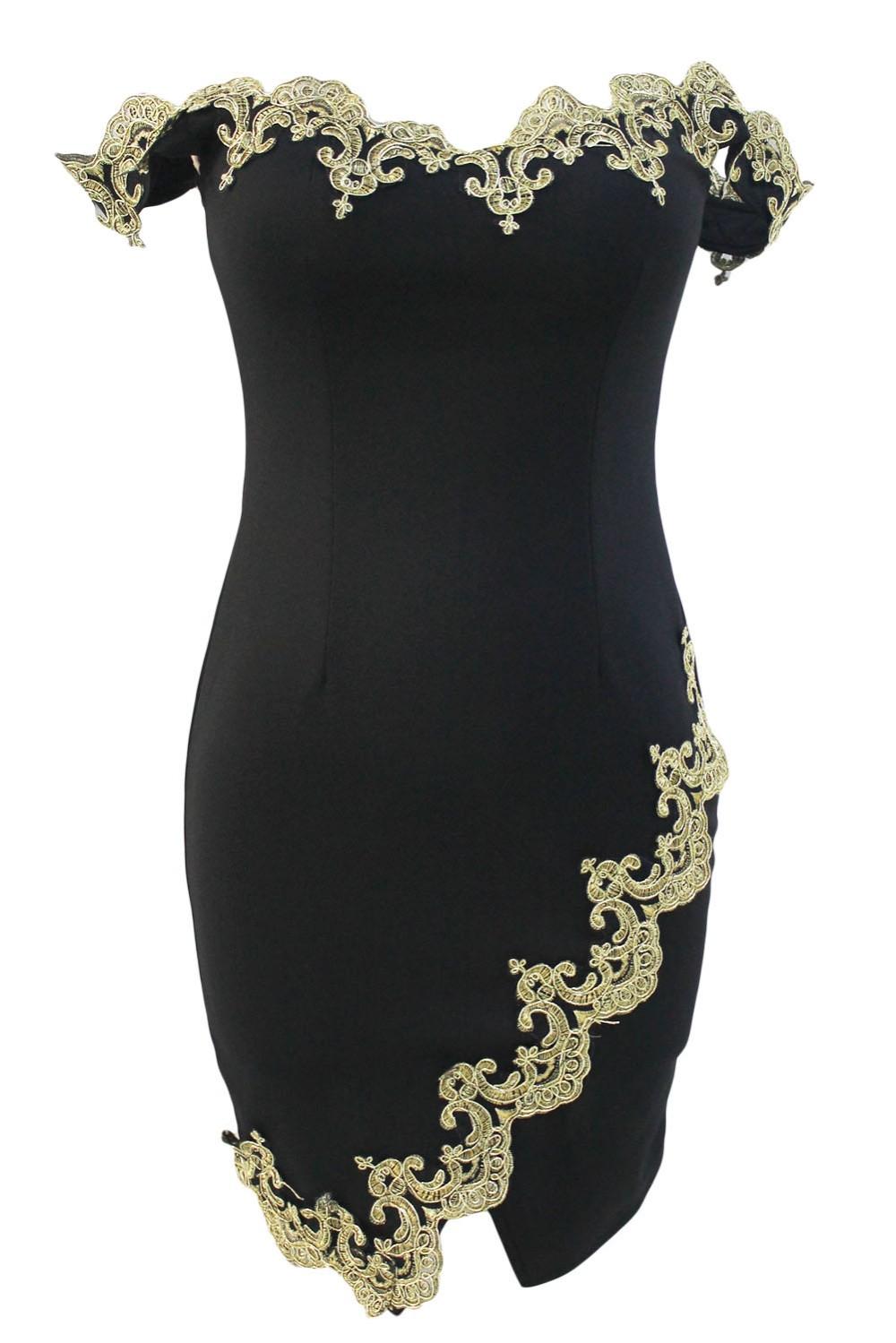 Gold-Lace-Applique-Black-Off-Shoulder-Mini-Dress-LC22715-2-2