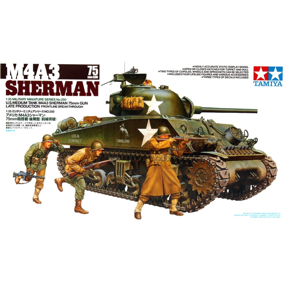OHS Tamiya 35250 1/35 US Medium Tank M4A3 Sherman 75mm Gun Late Version Frontline Breakthrough Assembly AFV Model Kits oh