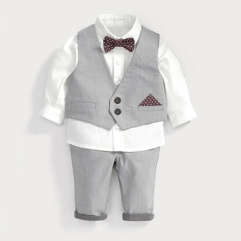 Boys clothing set white shirt+pants+vest kids gentlemen bow tie baby boy clothes infant toddler wedding party birthday outfits kids clothing set plaid shirt with grey vest gentleman baby clothes with bow and casual pants 3pcs set for newborn clothes