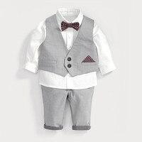 Erkek giyim seti beyaz gömlek + pantolon + yelek çocuk beyler papyon erkek bebek giysileri bebek yürüyor düğün doğum günü kıyafetler