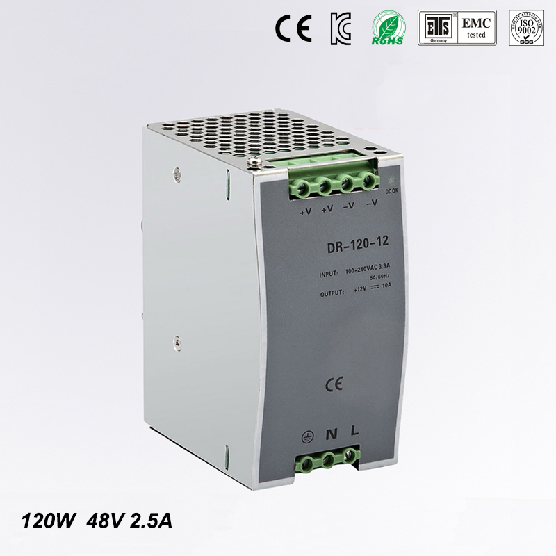 wide range input nicely DR-120-48 high quality Single Output LED 120w 48vdc 2.5a Din Rail Power Supply Transformer
