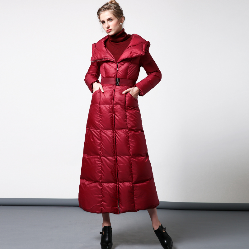 High Quality S-4XL Cotton Wool Big Coat Women Winter Parka Plus Size X long Jacket Warm Overcoat With Belt Red Outwear Cap 6409 hot autumn womens slim wool warm coat parka navy blue size s xl light tan red navy