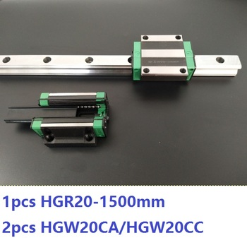 1pcs linear guide rail HGR20 1500mm + 2pcs HGW20CA/HGW20CC linear carriage blocks for CNC router parts Made in China