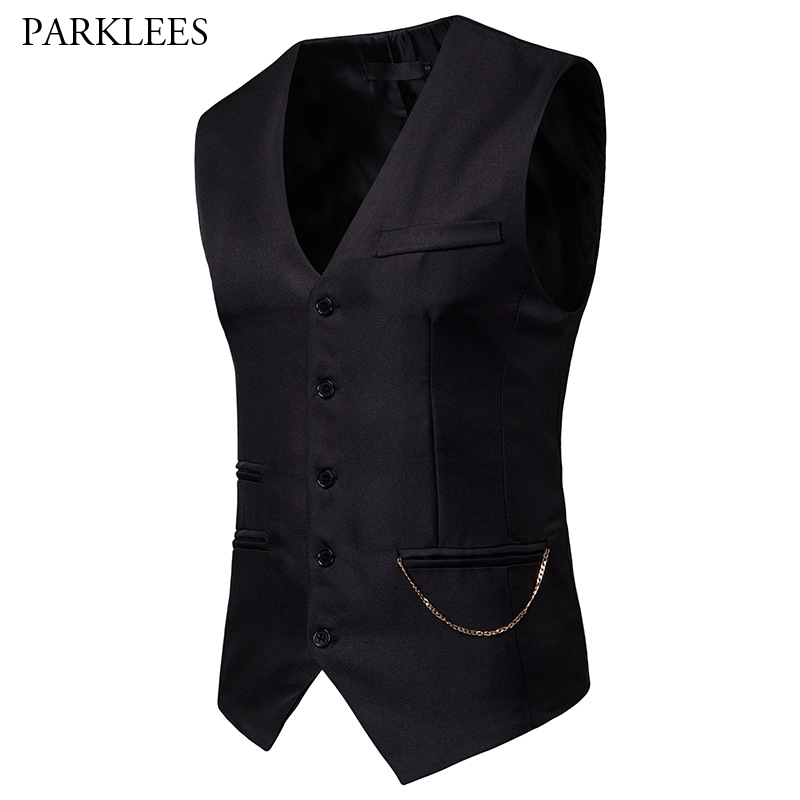 Mens Gentleman Formal Slim Fit Single Breasted Black Dress Suit Vests 2019 Fashion Chain Decoration Men Vest Waistcoat Gilet 2XL