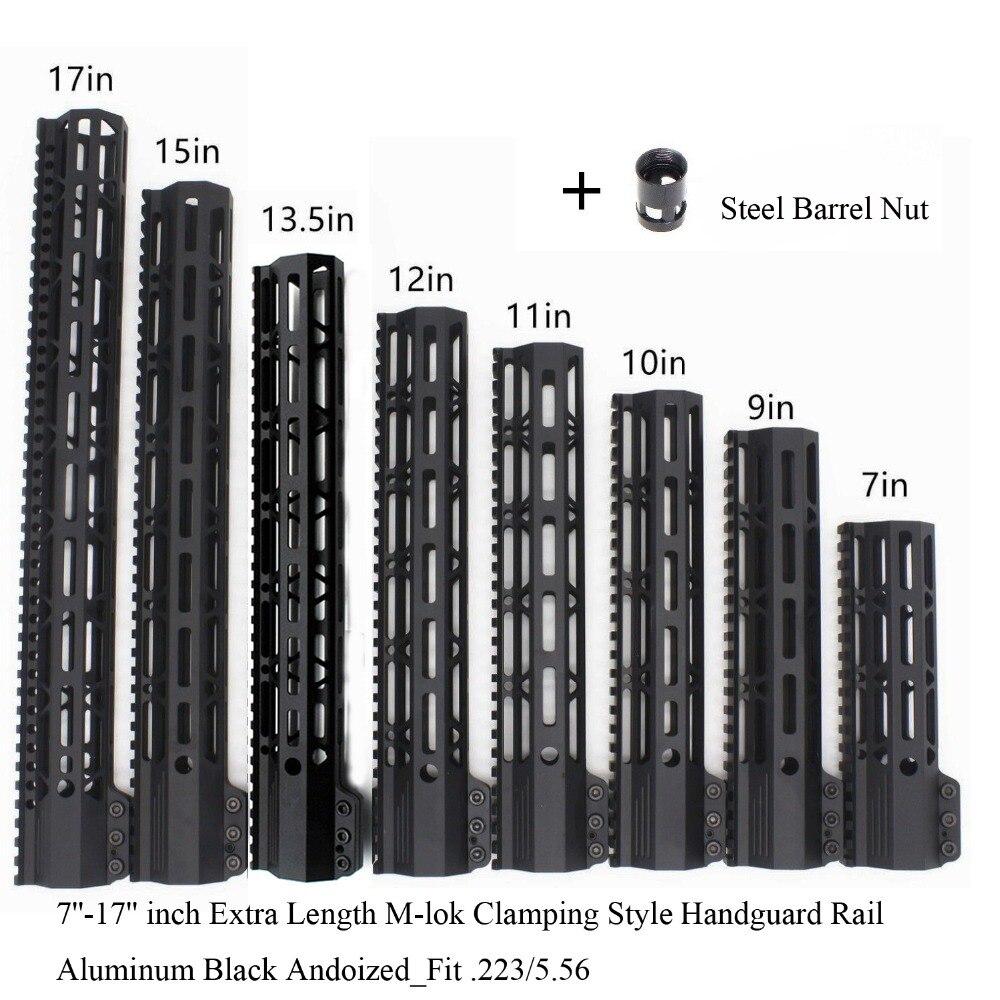 TriRock Noir Anodisé 7 ''9'' 10 ''11'' 12 ''13.5'' 15 ''17'' pouces m-lok De Serrage Style Handguard Rail Picatinny Mount Système