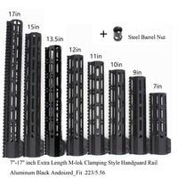 TriRock Black Anodized 7'' 9'' 10'' 11'' 12'' 13.5'' 15'' 17'' inch M lok Clamping Style Handguard Rail Picatinny Mount System