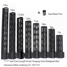 TriRock Black Anodized 7'' 9'' 10'' 11'' 12'' 13.5'' 15'' 17'' inch M-lok Clamping Style Handguard Rail Picatinny Mount System