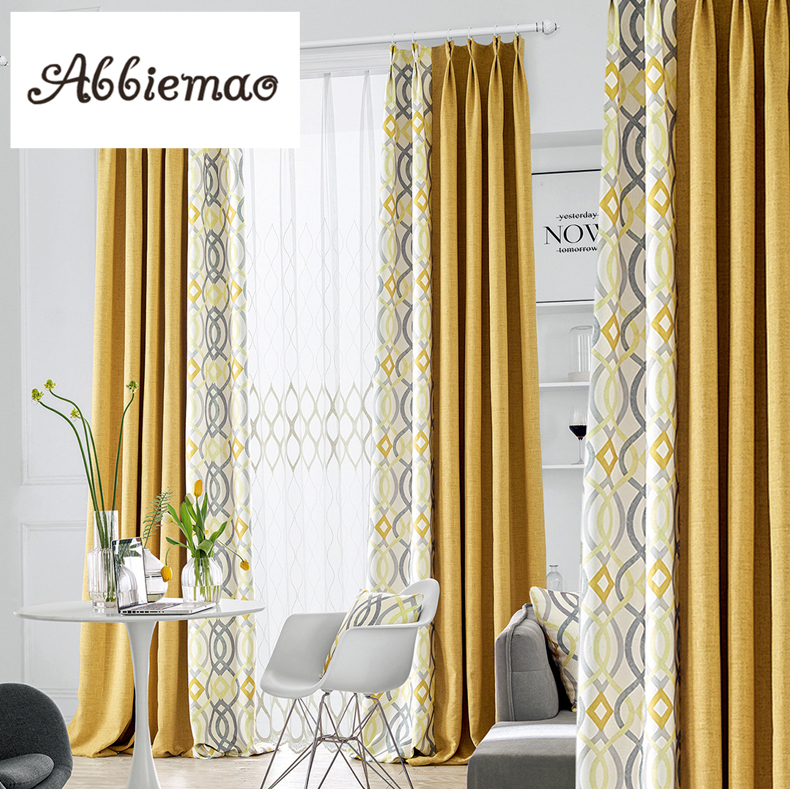 Abbiemao Modern Simple Yellow Gray Splicing Curtain For Living Room Bedroom High Shading Curtain With Matched Gauze Window Decor Curtains Aliexpress