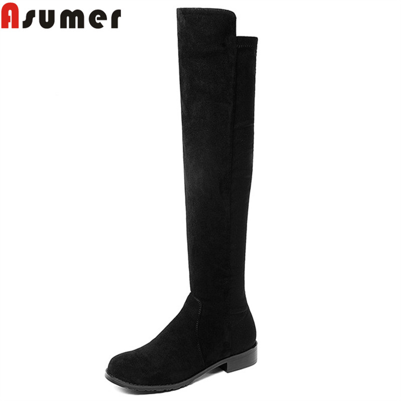 ASUMER black fashion autumn winter knee high boots women round toe low heels shoes cow leather