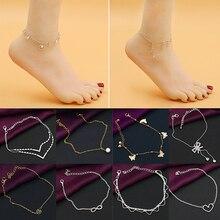 Butterfly Heart Chain Anklet Bracelet Beach Sandal Barefoot Ankle Foot Jewelry 9P8Z