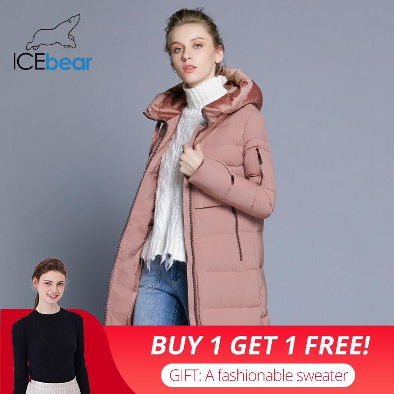 ICEbear 2018 Новинка высокое качество велюровой ткани куртка женская стильная простая повседневная женская куртка с капюшоном толстый теплый же...