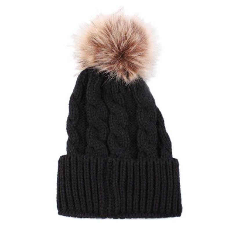 2016 Women Lady Girl Warm Winter Cap Beanies Hats Crochet Knitted Soft Fur Pom Beanie Skull Baggy Hat  #30 2017 winter women beanie skullies men hiphop hats knitted hat baggy crochet cap bonnets femme en laine homme gorros de lana