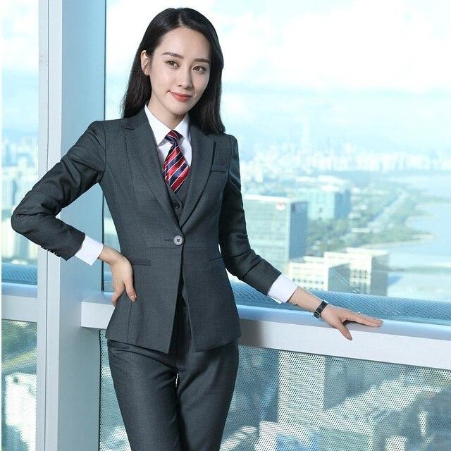 New 2018 Formal Wanita Abu-abu Blazers Wanita Jaket Elegan Ramping Pakaian  Kerja Kantor Gaya b6c57cc5b4