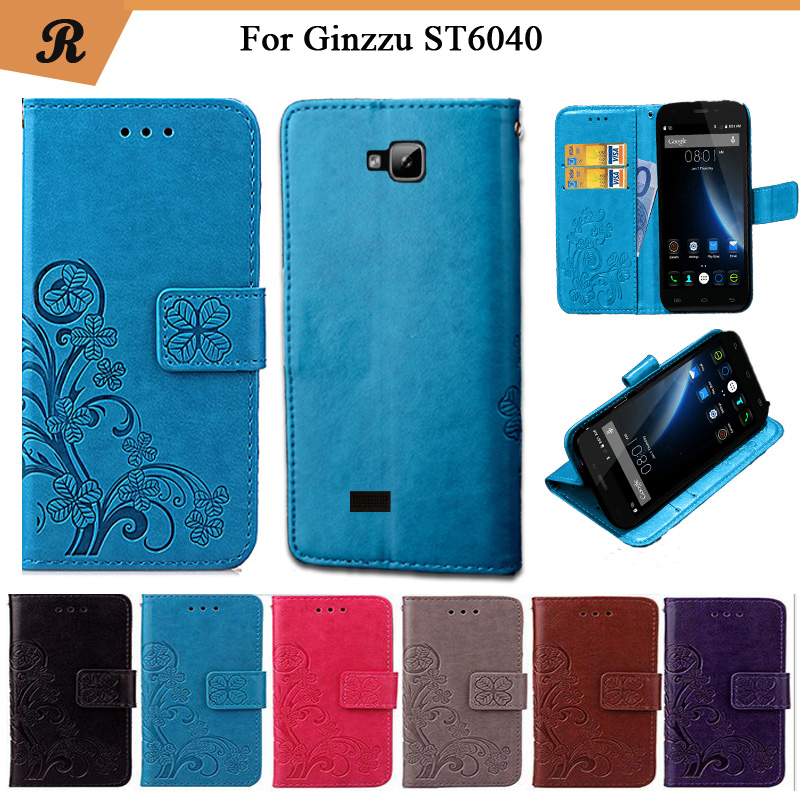 Newest For <font><b>Ginzzu</b></font> <font><b>ST6040</b></font> Factory Price Luxury Cool Printed Flower 100% Special PU Leather Flip case with Strap image