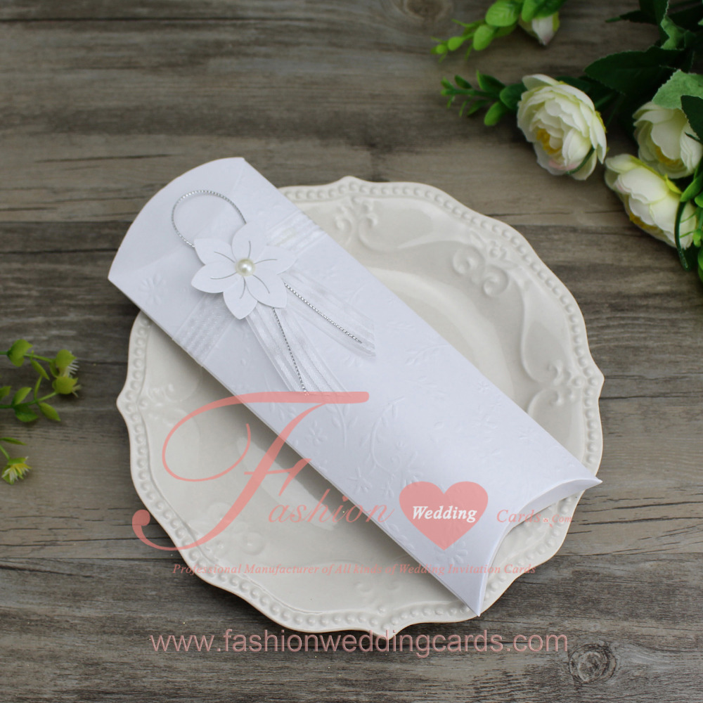 60PCS White Small Flower Embossing Pocket Scroll Wedding Invitation ...