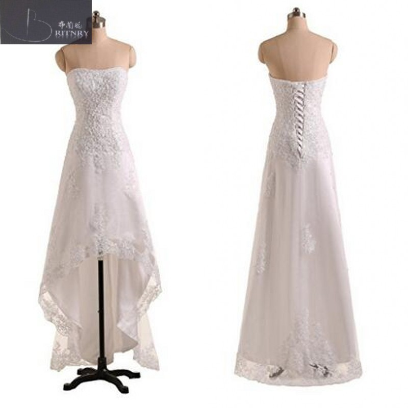 Wedding Dress Strapless A Line Hi Lo