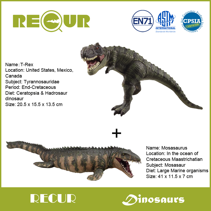 где купить  2 pcs/lot Recur Toys Jurassic Dinosaur Series Model PVC Toy Hand Painted Dinosaur Action Figure Soft Toy Collections For Boys  по лучшей цене