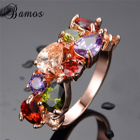Bamos New Retro Geometric Multicolor & White AAA Zircon Rainbow Rings For Women Rose Gold Filled Wedding Jewelry Best Lover Gift Pakistan