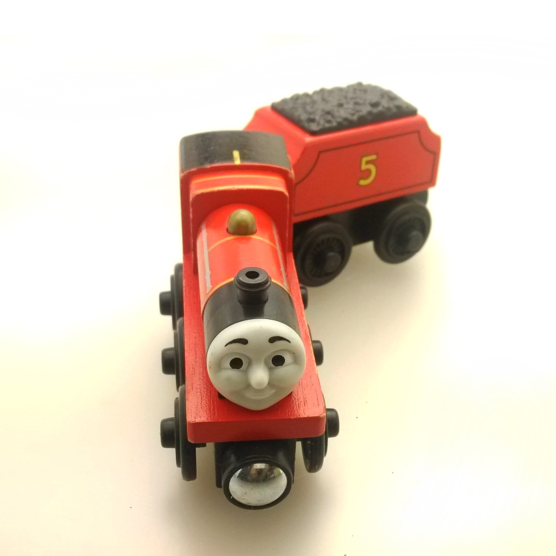 free shipping RARE Thomas And Friends JAMES WITH TRUCK Wooden Magnetic Railway transportTrain Engine Track Boy /Kids Toy