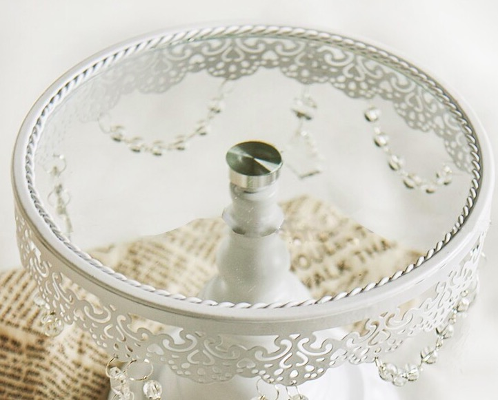 Cake stand cake tray with lace and glass carystal for wedding decoration 10 inch