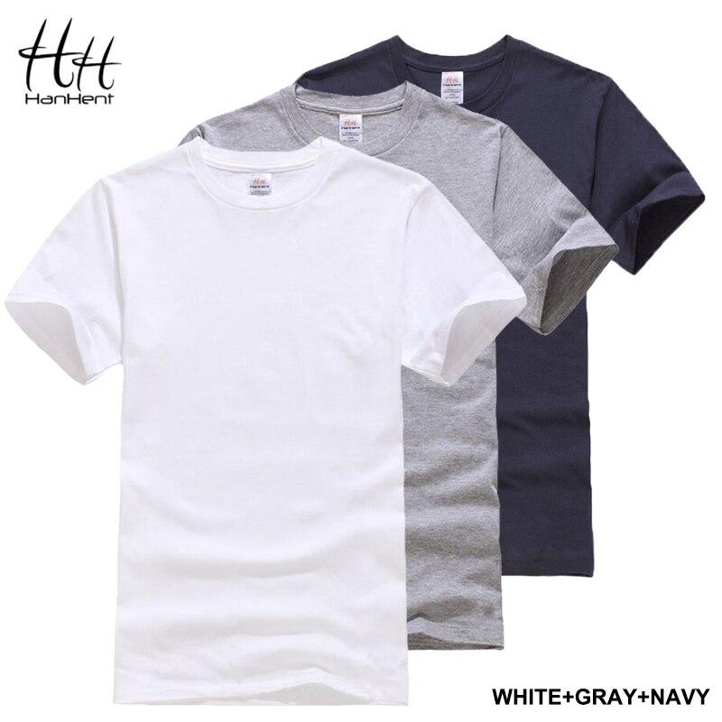 HanHent 3-pack הקלאסי גברים לא חולצת כותנה מוצקה שרוול קצר אופנה קיץ חולצת הטריקו נוחה כושר גופייה בסיסית S-XXL