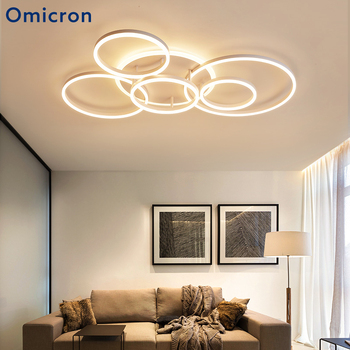 Omicron Modern Creative LED Ceiling Lights White Brown Circle Rings Home Decor Simple Lamp For Living Room Bed Room Lighting