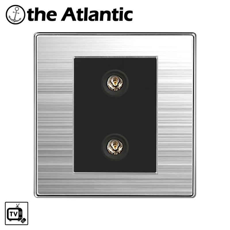 Atlantic Double TV Luxury Wall Socket Power Outlet Enchufe Stainless Steel Brushed Silver Panel Electrical Plug Soquete