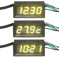 DC 12V 24V Digital Meter/Multimeter 3in1 Voltmeter/Thermometer/Clock Panel Meter Yellow Led Display Digital Tester