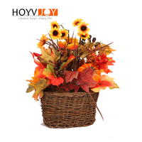 HOYVJOY Artificial Flowers Dried Sunflowers 35cm Fake Plants Maple Leaf Decorations For Home