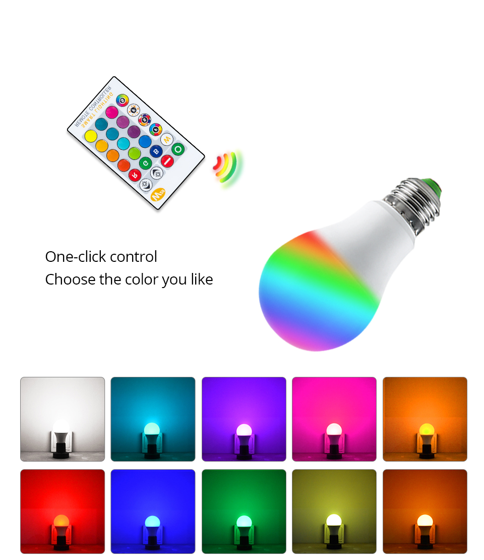Magic RGB LED Light Bulb GU10 E27 AC85-265V Smart Lighting Lamp Color Change Dimmable With IR Remote Controller 5W 10W 15W Light (5)