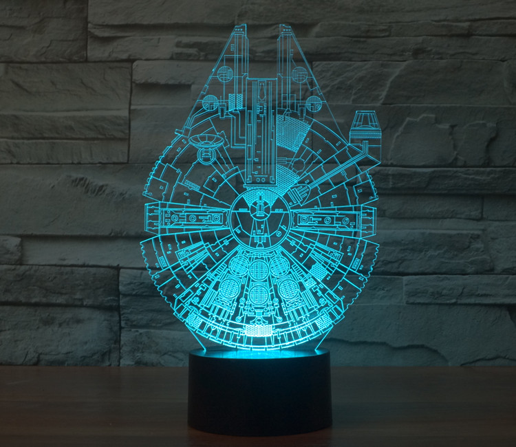 7 Colors Jedi Star Wars Millennium Falcon Model Darth Vader Mask Master Yoda 3D Table Lamp Led Toys Star Wars Action Figures star wars bb8 droid 3d bulbing light toys 2016 new 7 color changing visual illusion led lamp darth vader millennium falcon toy