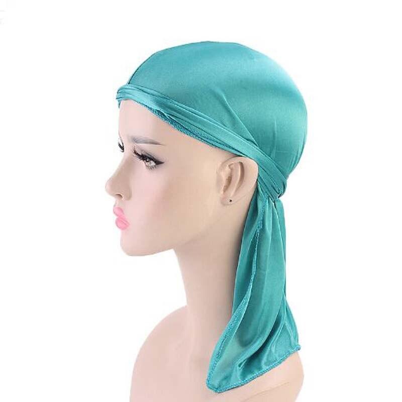 XEONGKVI Europe America Emulation Silk Long Tail Turban Skullies Beanies Spring Summer Pirates Hat Women Men Silky Durag