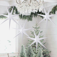 1pc 60cm White Star Lantern Decoration Christmas  New Year Hanging 3D 7 Angle Hi-Q l Home Festival Decor