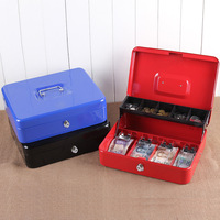 12 Inch Portable Cash Box With Drawer Lockable Metal Money Box Coin Cash Piggy Bank Home Store Jewelry Safe 30x24x9cm