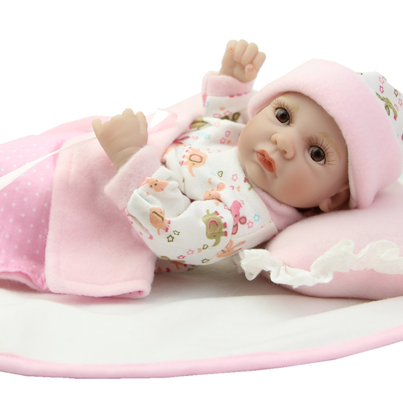Baby Reborn Doll 11 Inch Lifelike Full Soft Silicone Newborn Toys Fashion Gift For Girls Princess Babies Toys Wring Pink Clothes 22 inch 55cm lifelike soft silicone reborn baby dolls for girls children fashion princess doll toy good gift newborn babies toys