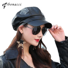 Fibonacci 2017 Retro High Quality PU Beret Black Faux Leather Newsboy Octagonal Hat Cap The French Artist Women Beret