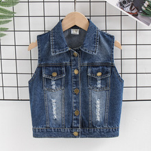 DIIMUU Children Clothing Boys Girls Denim Jackets Fashion Holed Casual Outerwear Vest Turn Collar Sleeveless Coats For 2-8 Years big girls denim trench coats double breasted letter jackets for girls outerwear brand 2017 children clothing 4 13 years