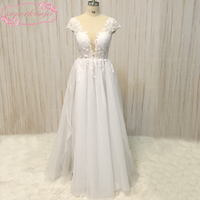 Beach Wedding Dresses Real Picture Deep V Neck Sexy Transparent Lace Appliques Side Slit Floor Length