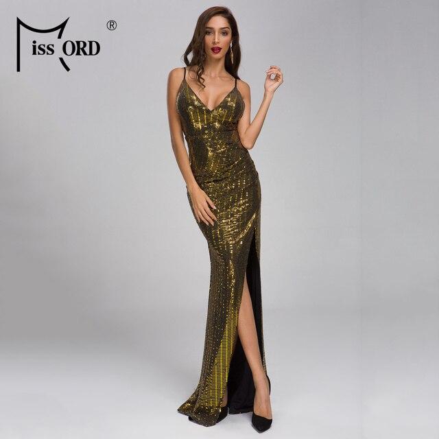 909b725f3d927 Missord 2019 verano mujer Sexy V cuello de hombro lentejuelas vestidos de  Split elegante vestido sin espalda Vestdios FT19289